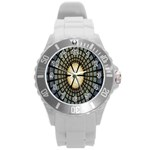 Stained Glass Colorful Glass Round Plastic Sport Watch (L) Front
