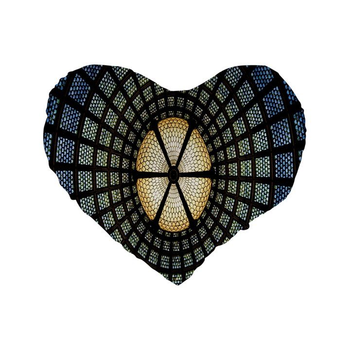 Stained Glass Colorful Glass Standard 16  Premium Heart Shape Cushions