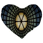 Stained Glass Colorful Glass Large 19  Premium Heart Shape Cushions Front