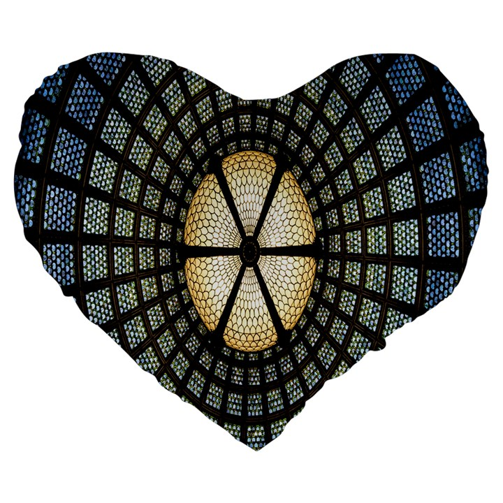 Stained Glass Colorful Glass Large 19  Premium Heart Shape Cushions