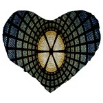 Stained Glass Colorful Glass Large 19  Premium Heart Shape Cushions Back