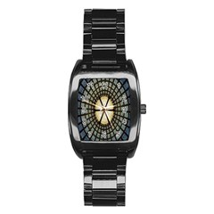 Stained Glass Colorful Glass Stainless Steel Barrel Watch