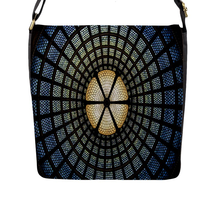 Stained Glass Colorful Glass Flap Messenger Bag (L)