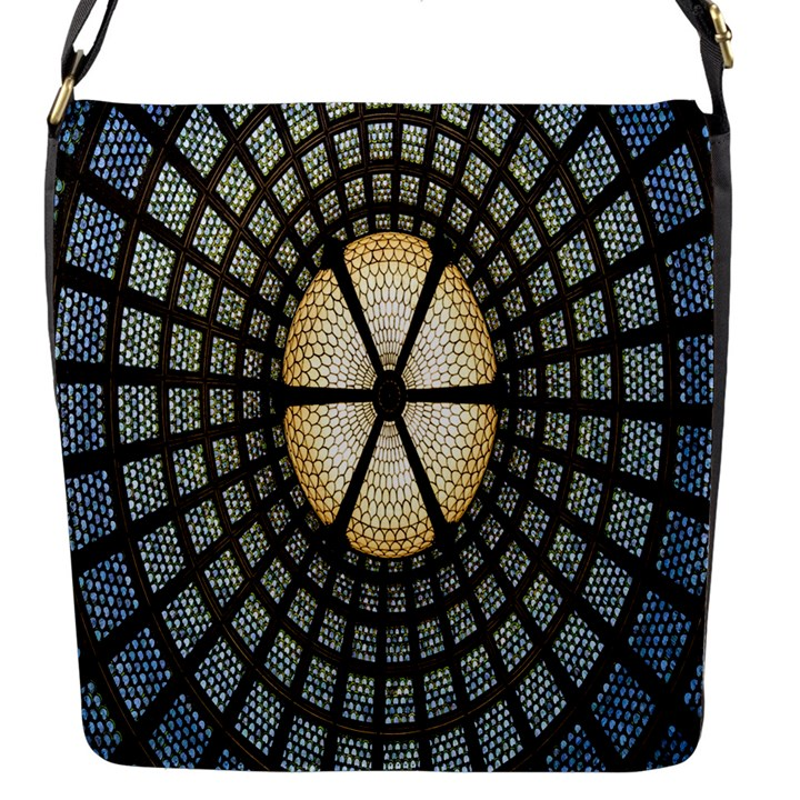 Stained Glass Colorful Glass Flap Messenger Bag (S)