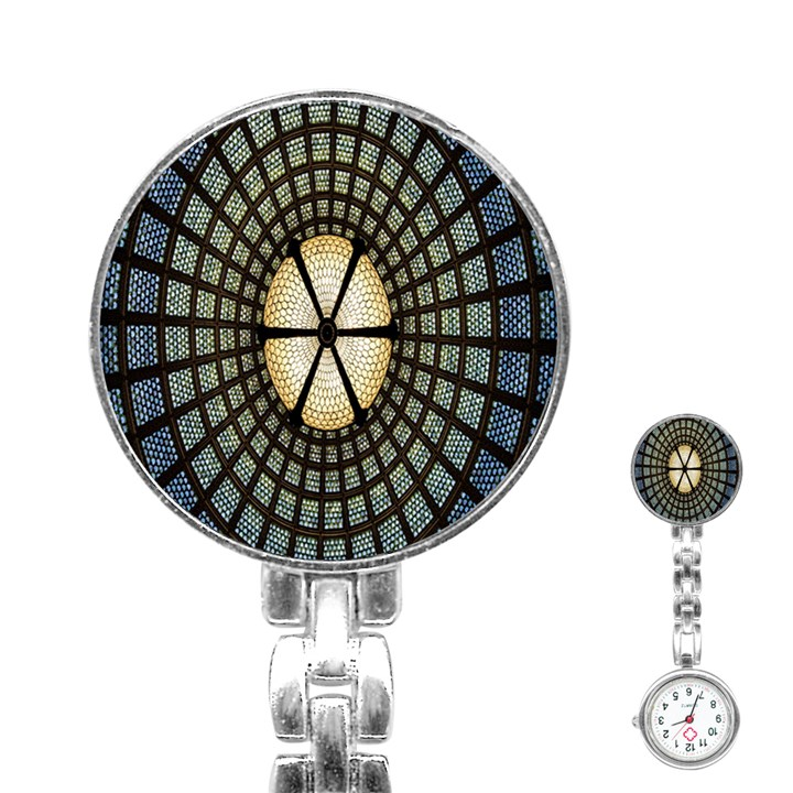 Stained Glass Colorful Glass Stainless Steel Nurses Watch