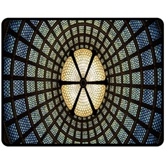 Stained Glass Colorful Glass Double Sided Fleece Blanket (Medium)