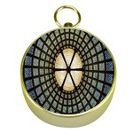 Stained Glass Colorful Glass Gold Compasses Front