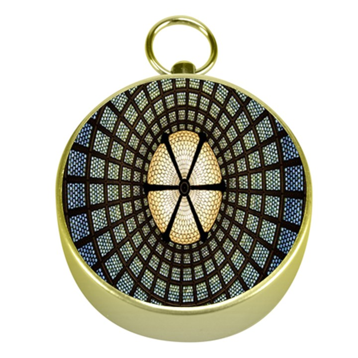 Stained Glass Colorful Glass Gold Compasses