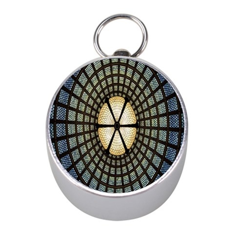 Stained Glass Colorful Glass Mini Silver Compasses