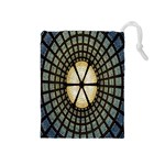 Stained Glass Colorful Glass Drawstring Pouches (Medium)  Front