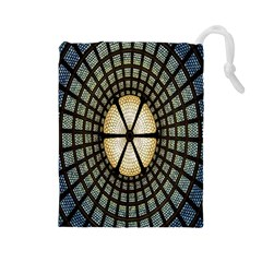 Stained Glass Colorful Glass Drawstring Pouches (Large)