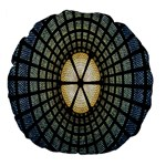 Stained Glass Colorful Glass Large 18  Premium Flano Round Cushions Back