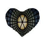 Stained Glass Colorful Glass Standard 16  Premium Flano Heart Shape Cushions Back