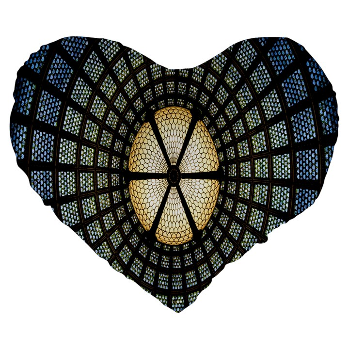 Stained Glass Colorful Glass Large 19  Premium Flano Heart Shape Cushions