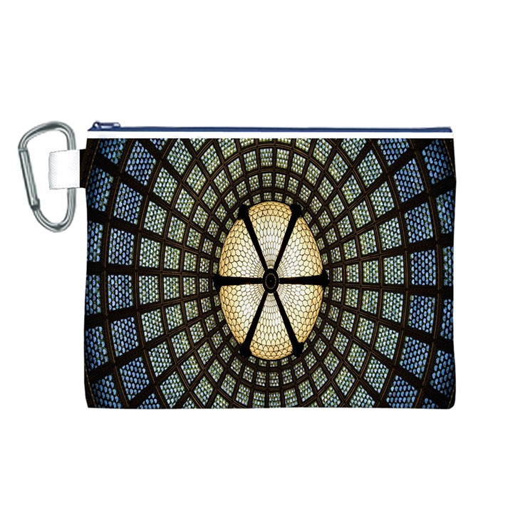 Stained Glass Colorful Glass Canvas Cosmetic Bag (L)