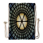Stained Glass Colorful Glass Drawstring Bag (Large) Front