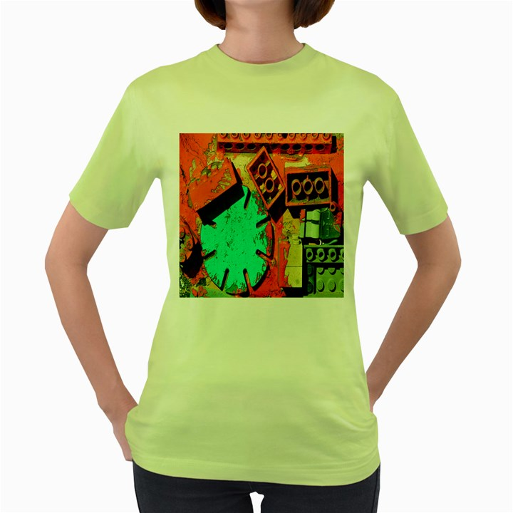 Sunburst Lego Graffiti Women s Green T-Shirt
