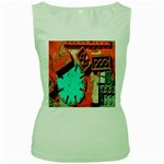 Sunburst Lego Graffiti Women s Green Tank Top Front
