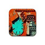 Sunburst Lego Graffiti Rubber Coaster (Square)  Front