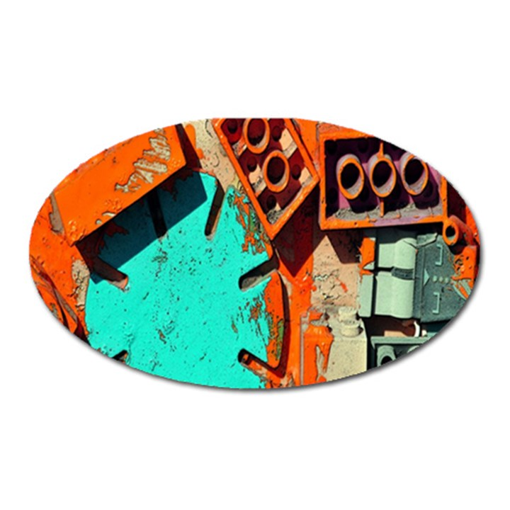 Sunburst Lego Graffiti Oval Magnet