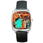 Sunburst Lego Graffiti Square Metal Watch Front