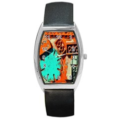 Sunburst Lego Graffiti Barrel Style Metal Watch