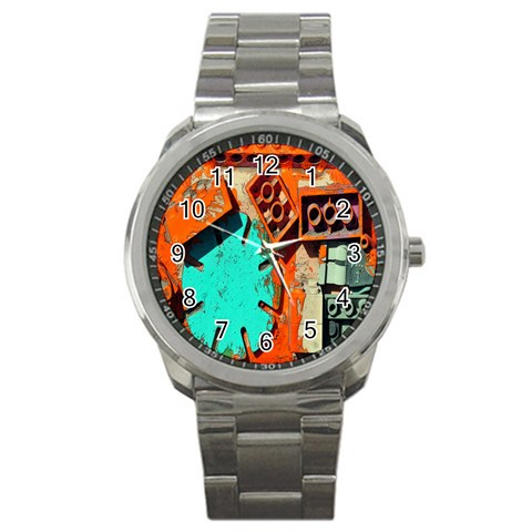 Sunburst Lego Graffiti Sport Metal Watch