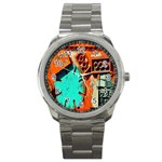 Sunburst Lego Graffiti Sport Metal Watch Front