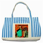 Sunburst Lego Graffiti Striped Blue Tote Bag Front