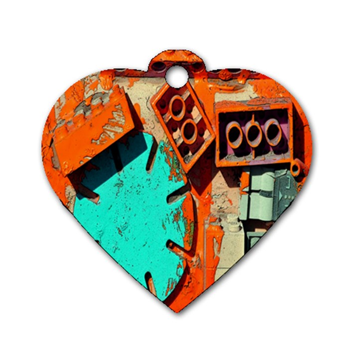 Sunburst Lego Graffiti Dog Tag Heart (Two Sides)