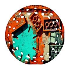 Sunburst Lego Graffiti Round Filigree Ornament (2Side)