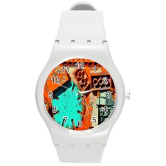 Sunburst Lego Graffiti Round Plastic Sport Watch (M)