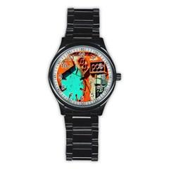 Sunburst Lego Graffiti Stainless Steel Round Watch