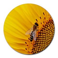 Sun Flower Bees Summer Garden Round Mousepads