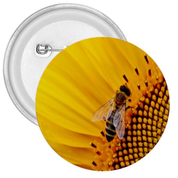 Sun Flower Bees Summer Garden 3  Buttons