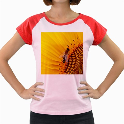 Sun Flower Bees Summer Garden Women s Cap Sleeve T-Shirt