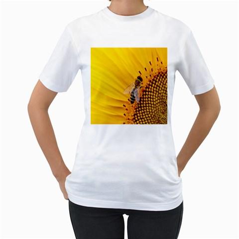 Sun Flower Bees Summer Garden Women s T-Shirt (White) (Two Sided)