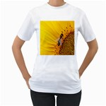 Sun Flower Bees Summer Garden Women s T-Shirt (White) (Two Sided) Front