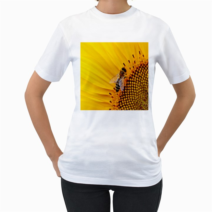 Sun Flower Bees Summer Garden Women s T-Shirt (White) (Two Sided)