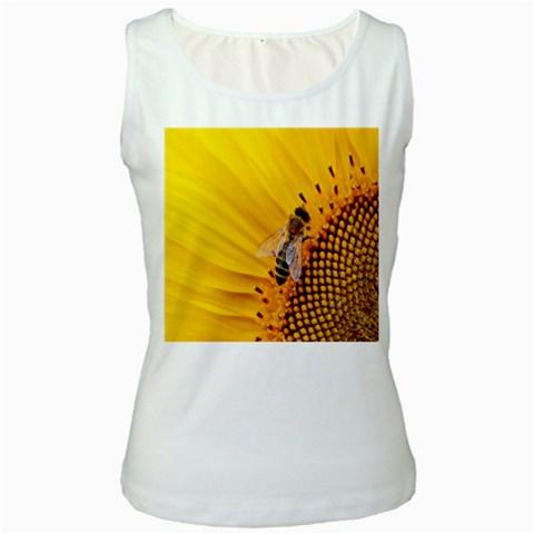 Sun Flower Bees Summer Garden Women s White Tank Top