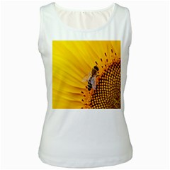 Sun Flower Bees Summer Garden Women s White Tank Top