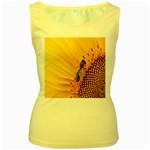 Sun Flower Bees Summer Garden Women s Yellow Tank Top Front