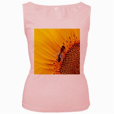 Sun Flower Bees Summer Garden Women s Pink Tank Top