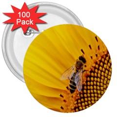 Sun Flower Bees Summer Garden 3  Buttons (100 pack)