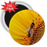 Sun Flower Bees Summer Garden 3  Magnets (100 pack) Front