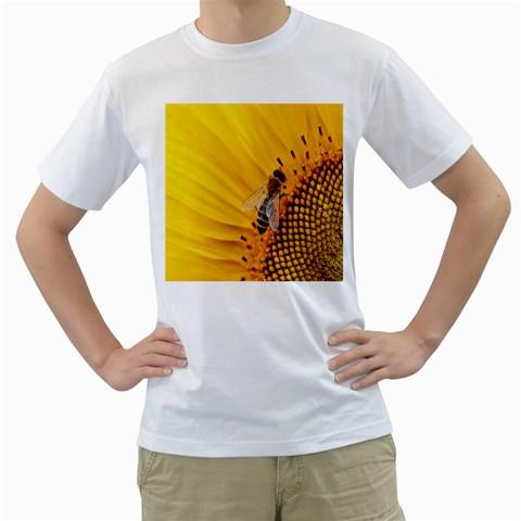 Sun Flower Bees Summer Garden Men s T-Shirt (White) (Two Sided)