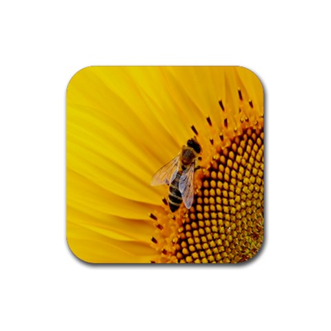 Sun Flower Bees Summer Garden Rubber Square Coaster (4 pack)