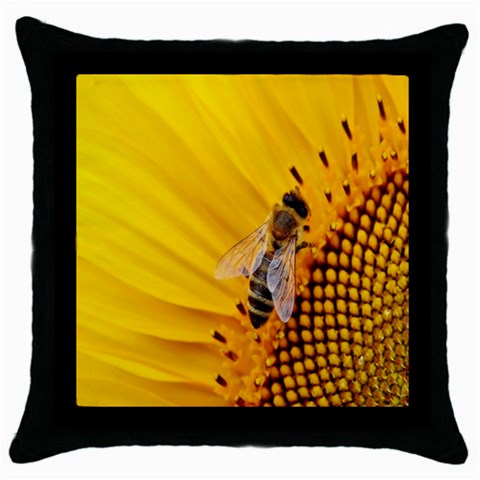Sun Flower Bees Summer Garden Throw Pillow Case (Black)