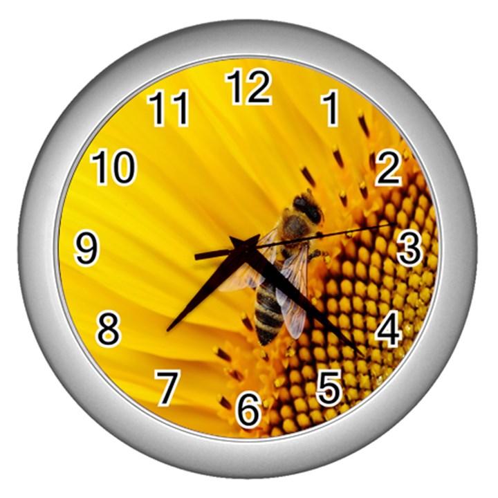 Sun Flower Bees Summer Garden Wall Clocks (Silver)