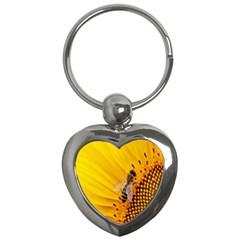 Sun Flower Bees Summer Garden Key Chains (Heart)